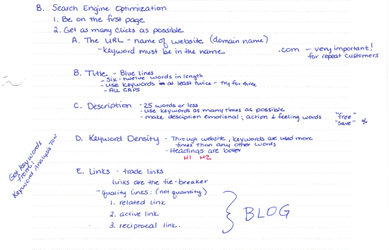 image - a page from my notes, where I outlined this blog post.